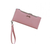 Easting Women's Simple Solid Colour Metal Bowknot Multi-function Billfold Wallet