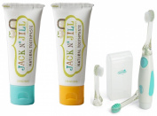 Jack N' Jill Natural Toothpaste, 50ml (Set of 2) with Vibrations Toothbrush, Blueberry/Banana