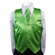 Unotux 2pc Boys Satin Lime Green Vest and Necktie Set from Baby to Teen