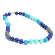 Chewbeads Bleecker Necklace - Teething Jewellery - Soft on Infant's Gums and Teeth - 100% Safe Silicone - Easily Cleaned, Dishwasher Safe - 38cm Length - Turquoise