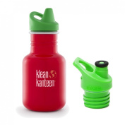 Klean Kanteen 350ml Stainless Steel Water Bottle with 2 Caps (Kid Kanteen Sippy Cap and Sports Cap 7.6cm Bright Green) - Farm House