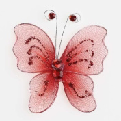 Small Cherry Red Nylon and Glitter Craft Butterflies Adorned with Red Gem Antennae- 100 Pieces