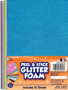 Fibre Crafts 202725 01E Creative Hands Glitter Foam Adhesive Sheets, Bright Colours