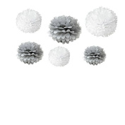 Generic Set of 12pcs Mixed 3 Sizes White Grey Tissue Paper Pom Poms Flower Wedding Party Baby Girl Room Nursery Decoration