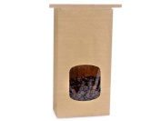 Kraft 0.5kg. Tin Tie Bakery Bag w/ Square Window - 50 Pack