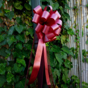 Burgundy Pull Bows with Tulle Tails - 20cm Wide, Set of 6