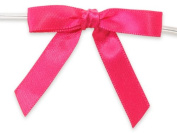HOT PINK 5.1cm Pre-Tied Satin Bowswith 10cm - 1.3cm Twist Ties~ 1cm ribbon 20 unit, 12 pack per unit.