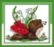 Happy Forever Cross Stitch Animal, a baby ladybug