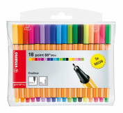 Stabilo Point 88 Mini Set of 18 Fine-Tipped Felt Tip Pens Fluorescent Ink