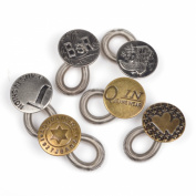 Cosmos ® 6 Pack Antique Brass Metal No Sew Elastic Jeans Collar Button Pant Extender