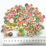 Cutedream 100pcs Mixed Wooden Buttons in Bulk Painting Pattern Buttons for Crafts Round Button Buttons Bu-178
