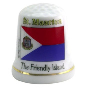 St.Martin Caribbean Flag Pearl Souvenir Collectible Thimble agc