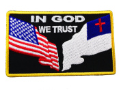 In God we Trust American US Christian Flag Patriotism Religious Iron or Sew on Embroidered Patch D33