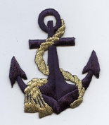 Nautical Navy Blue Anchor with Gold Rope Iron on Embroidered Patch