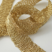 Metallic Gold Netting Wired Mesh Trim for Bridal, Costume or Jewellery, Crafts and Sewing, 1.9cm by 1 Yard, TR-11031