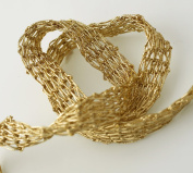 Metallic Gold Netting Wired Mesh Trim for Bridal, Costume or Jewellery, Crafts and Sewing, 1cm by 1 Yard, TR-11030