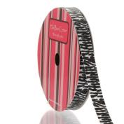 1cm White/Black Zebra Grosgrain Ribbon 5 Yard