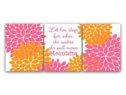 UNFRAMED PRINTS (CHOOSE YOUR SIZES) - Set of 3 Hot Pink and Orange Floral Nursery Wall Art Nursery Quote - KIDS84