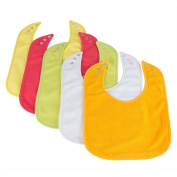 Waterproof Baby Bibs with Three Snaps, Unisex, 5 Pack, Solid Colours