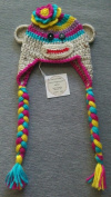 Hand Crocheted Rainbow Sock Monkey Ear Flap Baby Hat 0-3 Months