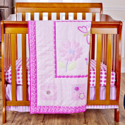 Dream On Me 3 Piece Set Reversible Portable Crib Bedding Set, Pink Butterfly and Flower