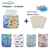 Babygoal Baby Reuseable Washable Pocket Cloth Nappy 6pcs+ 6 Inserts 6fb16