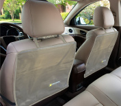 """2 Premium Kick Mats with """"Invisible Strap"""" by Tike Smart - Tan (Beige) - 2-pack of Car Seat Back Kick Protectors - Cover & Protect the Back of Your Car's Leather or Cloth Front Seats From Kids' Dirty/Muddy/Wet/Sandy Shoes - Stylish/Blends with All Inte .."""