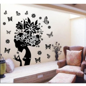 MZY LLC (TM) Pretty Butterfly Flower Fairy Girl Removable PVC Wall Sticker Home Decor Decals