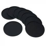 Barmix Rubber Silicone Drink Coasters (Set of 8 Pieces), Black