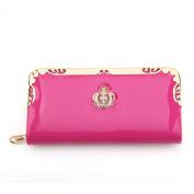 Zehui Women's Zip Around Rose Pattern Patent Leather Long Wallet Purse Coin Purse