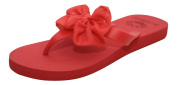 Ladies Chiffon Bow Sandals Dunlop Womens Slip On Toe Post Flip Flops Beach Shoes