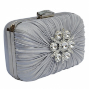 Rouched Satin Hard Case Evening Clutch Bag With A Large Sparkly Brooch - Party Bridal Wedding Prom