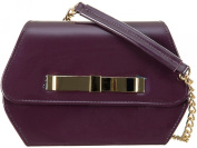 New SHIMMER PURPLE Sweetie box Patent Faux Leather Clutch Evening Bag Handbag & Shoulder Chain