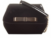 New BLACK Sweetie box Patent Faux Leather Clutch Evening Bag Handbag & Shoulder Chain