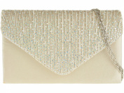 New CHAMPAGNE Rainbow Diamante Satin Envelope Clutch Evening Bag Handbag & Shoulder Chain
