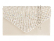 New IVORY Rainbow Diamante Satin Envelope Clutch Evening Bag Handbag & Shoulder Chain