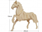 JINPIN Kids Puzzle Toys Early Education Toys 3D Wooden Puzzle Simulation Model- Horse
