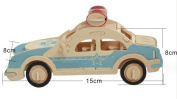JINPIN Kids Puzzle Toys Early Education Toys 3D Wooden Puzzle Simulation Model- Police Car