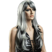 HSG hot sell cosplay wigs long grey white mixed wigs curly wavy sexy lady wigs for costume party TF1163