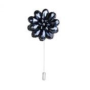 Men's Suit Boutonniere Lapel Pin Beaded Flower Brooch Navy Blue
