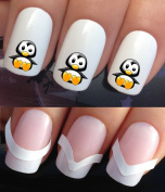 WATER NAIL TRANSFERS DECALS STICKERS ART SET #654 & 172. **plus x48 nail tip guides!!** x24 CUTE WINTER CARTOON FIGURE PENGUIN TATTOO WRAPS & x48 FRENCH MANICURE TIP GUIDES! CAN BE USED WITH NATURAL GEL ACRYLIC STICK ON NAILS! OR WITH GLITTER DUST CAVI ..
