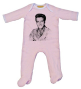 Elvis Black and White Baby Grow Pink
