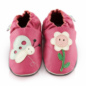 Snuggle Feet Girls Smiley Flower Pink Leather Baby Shoes, From Birth To 3 Years