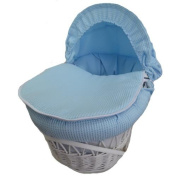 New Blue Waffle Moses Basket Covers 4 Piece Bedding Set Inc Quilt,Skirt,Hood & Sheet