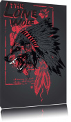 The lone wolf black painting on canvas, huge XXL Pictures completely framed with stretcher, art print on wall picture with frame, cheaper than painting or an oil painting, not a poster or poster format