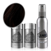 Super Million Hair - Extra Value 25g Set - (2 x 25g Hair Building Fibres & 1 x 165ml Hard Mist) - No.02 Dark Brown