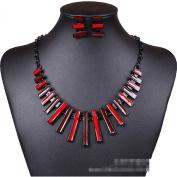 Women's Geometric Red Enamel Graduated Stick Bib Choker Necklace Earrings Set
