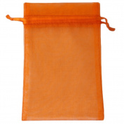 "Orange 4x6"" 10x15cm Drawstring Organza Pouch Strong Wedding Favour Gift Candy Bag"