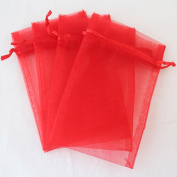 "Red 4x6"" 10x15cm Drawstring Organza Pouch Strong Wedding Favour Gift Candy Bag"