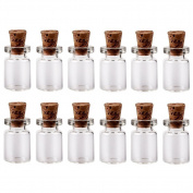 LEFV™ 1ml Small Bottles Transparent Mini Glass Jars with Cork Stoppers Top - Message Weddings Wish Jewellery Pendant Charms Kit Party Favours - Pack of 50